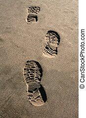 empreinte, chaussure, plage, brun, sable, texture,...
