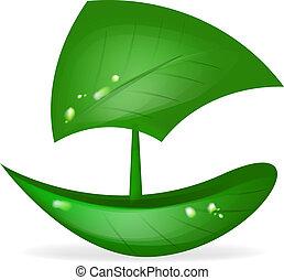 boat green leaf vector eco transport