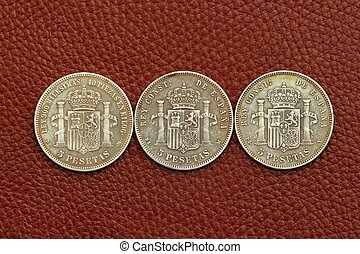 five pesetas spain old coins Alfonso XII Carlos III Ioseph...