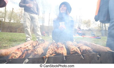 meat on the fire