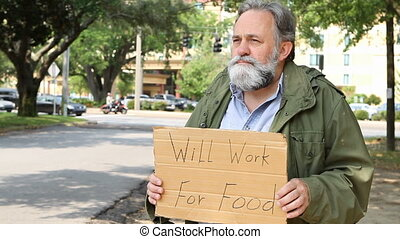 Beggar Man - Homeless Vietnam veteran suffering from post...