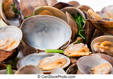 Cooked clams - Freshly steamed clams served with chopped...