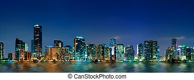Miami skyline panorama - Miami skyline at night - panoramic...