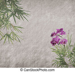 orchids with bamboo leaves on old grunge antique paper...