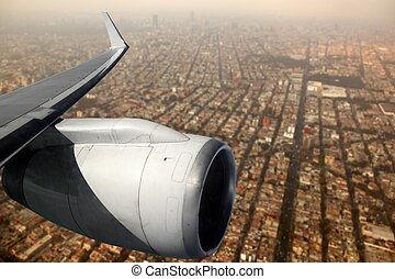 airplane wing aircraft turbine flying Mexico DF - airplane...