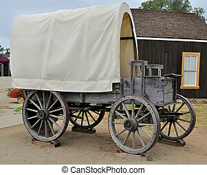 Covered Wagon - A classic Covered Wagon replica on display.
