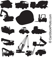 Construction and trucks - Set of silhouettes of construction...