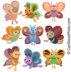 cartoon butterfly set icon