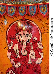 Indian elephant symbol on orange textile sheet handcraft