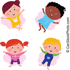 Multi cultural different jumping children - vector isolated...