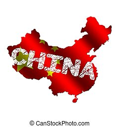 China map flag with grunge text illustration