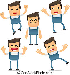 set of funny cartoon mechanic in various poses for use in...