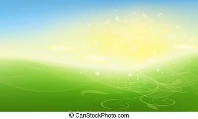 Summer raster background with sun, field, sky, butterfly and...