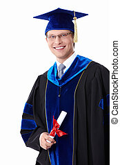 A student with a diploma - Young student with a diploma on...