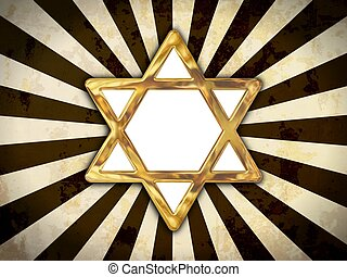 Star of David - Golden star of David isolated on an abstract...