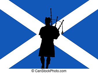 Scottish Bagpipes - silhouette of a man playing the bagpipes...