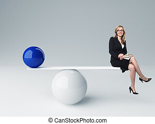 good balance - smiling woman and 3d balance