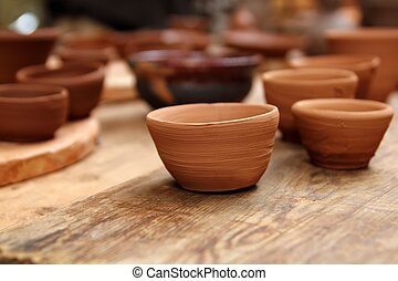 clay crafts pottery studio wood table traditional