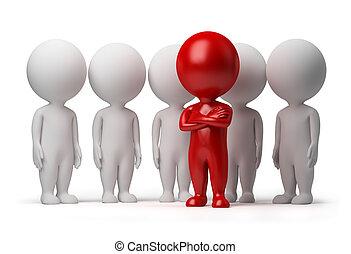 3D, pequeno, pessoas, -, líder, equipe