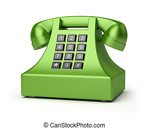 telephone - Green brilliant phone 3d image Isolated white...
