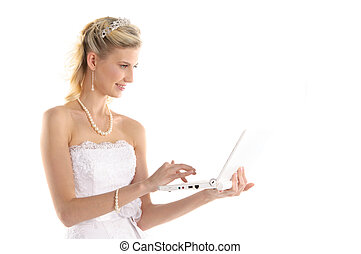 happy bride with laptop isolated on white
