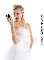 Dissatisfied bride with mobile phone isolated on white