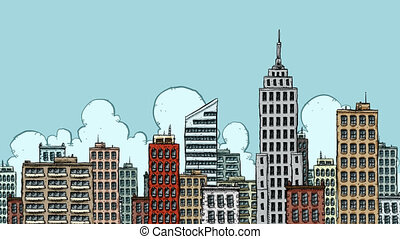 UFO Buzz - A cartoon alien buzzes a big city in his UFO.
