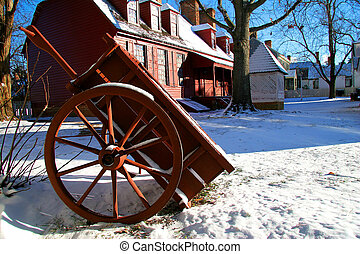 colonial winter scene - Williamsburg Virginia in the snow.