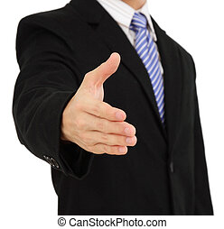 Businessman offering a handshake - A businessman offering a...