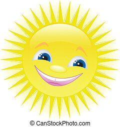 Funny cartoon sun smiling