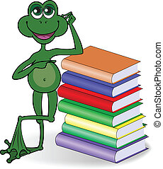 Frog and books - funny frog leaning on a high stack of...