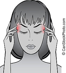 Headache - Woman rubs temples with your fingers for a...