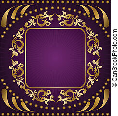 Gold ornament on a purple background - vintage frame from...