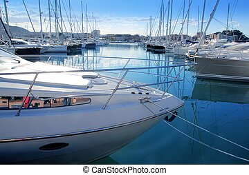Boat mediterranean marina in Denia Alicante Spain - Boat...