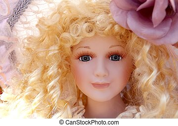 antique old blond porcelain doll face protrait curly hair