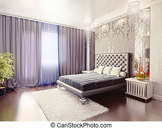 bedroom - modern luxury  bedroom interior (3D rendering)