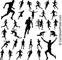people running silhouettes collection - vector