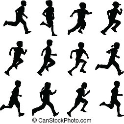children running silhouettes - set of running children...