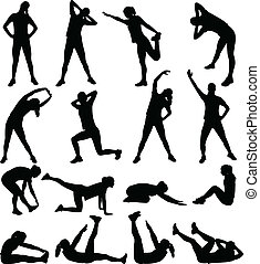 woman exercising silhouettes- vector