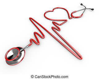 Stethoscope and a silhouette of the heart and ECG. 3d