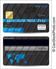 Striped bank card design with world map