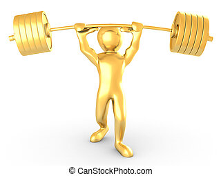 Men with barbell. 3d