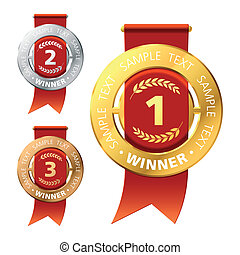 Awards - Vector illustration of gold, bronze and silver...