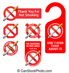 No Smoking signs - Detailed vector illustration of No...