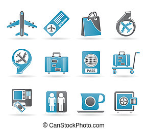 airport, travel and transportation icons 1 - vector icon set