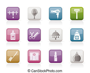 Personal care and cosmetics icons - vector icon set