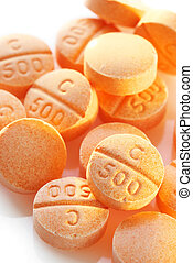 Vitamin C pills - Heap of vitamin C pills close-up