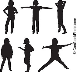 Little or teenage girls silhouettes set, vector illustration