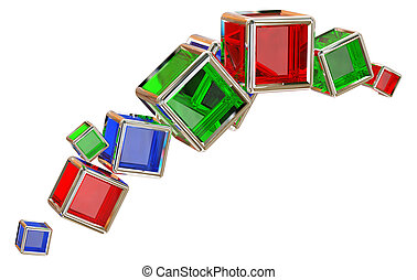 glass cubes in a metal frame