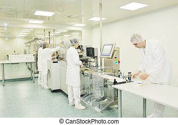 médico, fábrica, producción, interior